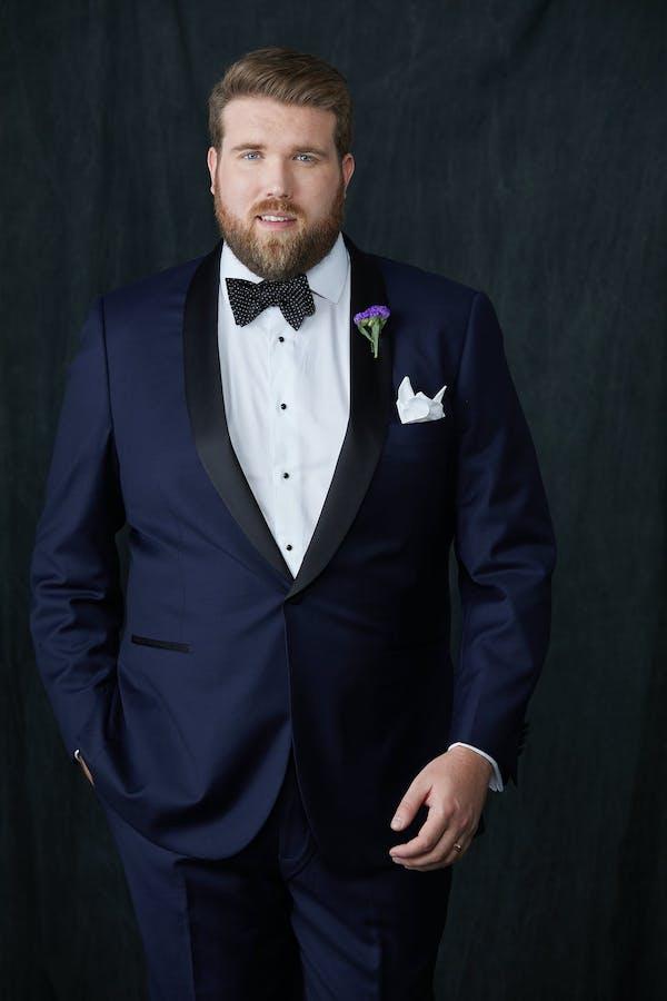 navy tuxedo and tuxedo shirt