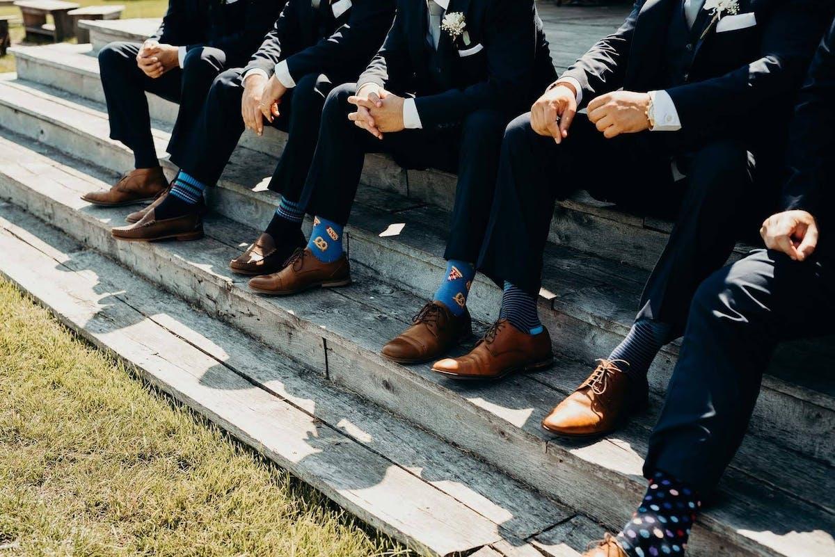 Fun socks for wedding day