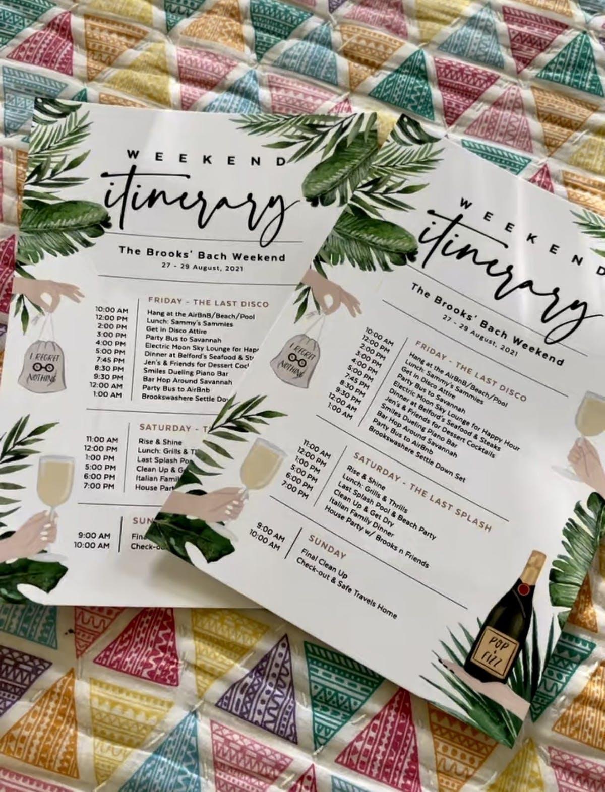 Bachelorette Party Itinerary, Bachelorx Party Itinerary