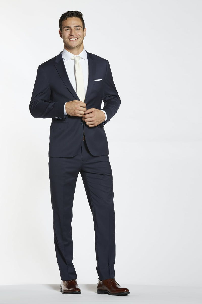 Navy Wedding Suit with Brown Shoes