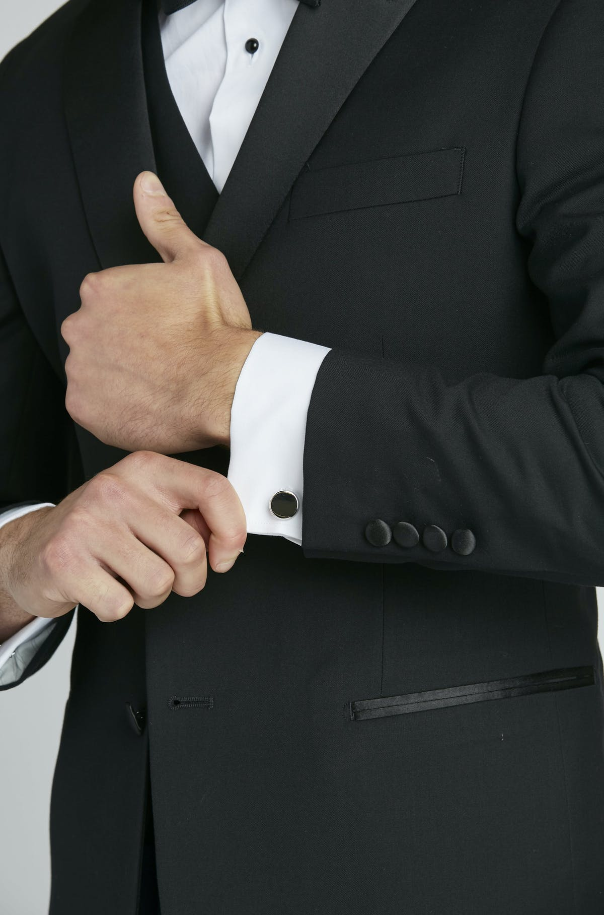 black tuxedo with french cuff shirt and formal cufflinks for men