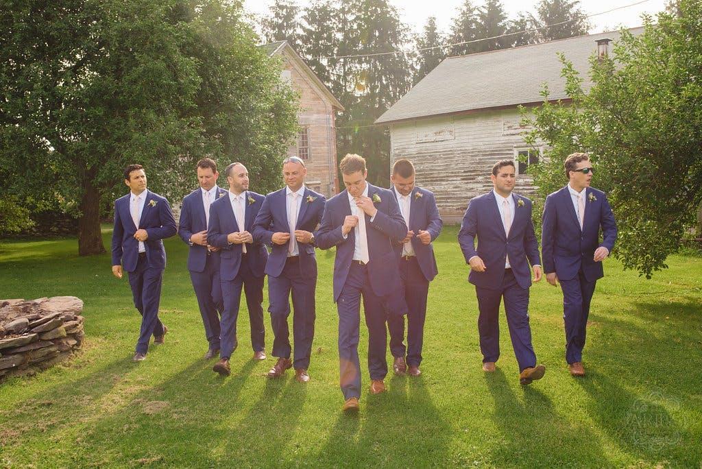 brilliant blue groomsmen suits