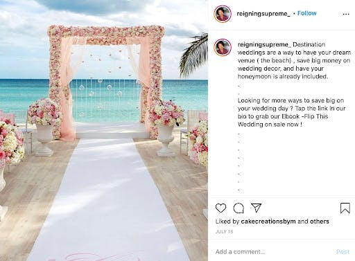 beach wedding walkway