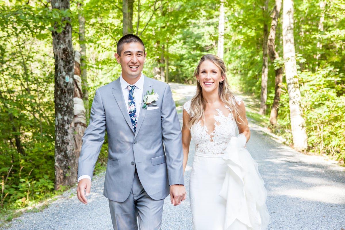 Groom in textured gray wedding suit for men