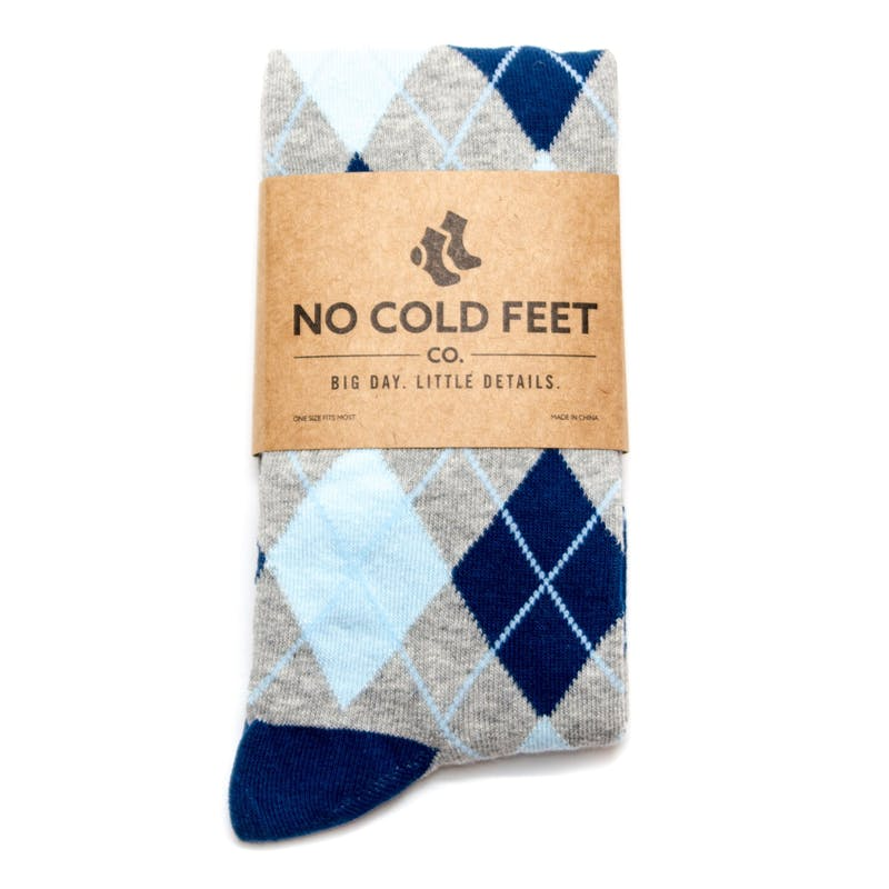 Men's blue argyle wedding sock