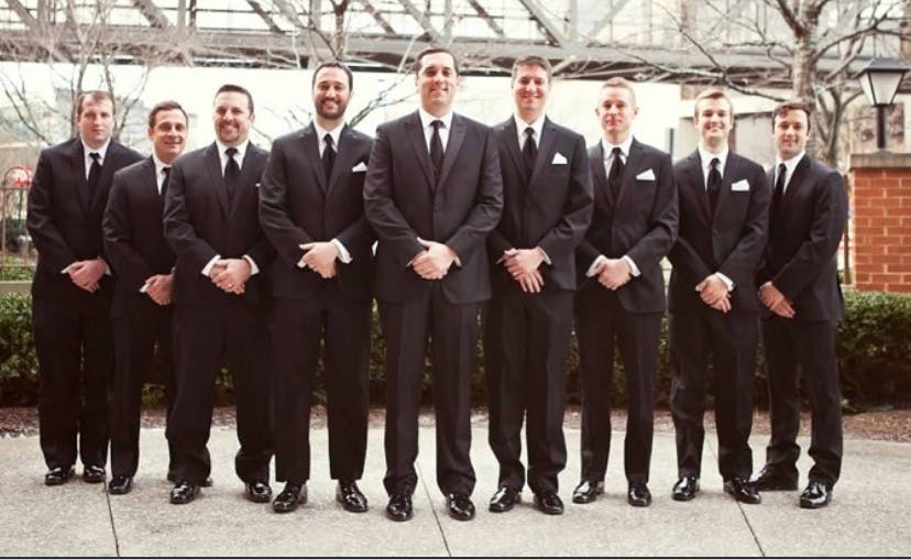 Tuxedo Rental gone wrong from the real wedding of Jeanne Foley, co-founder of SuitShop.