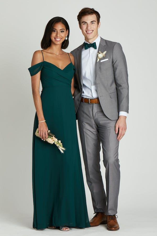 grey suit green bridesmaids dress