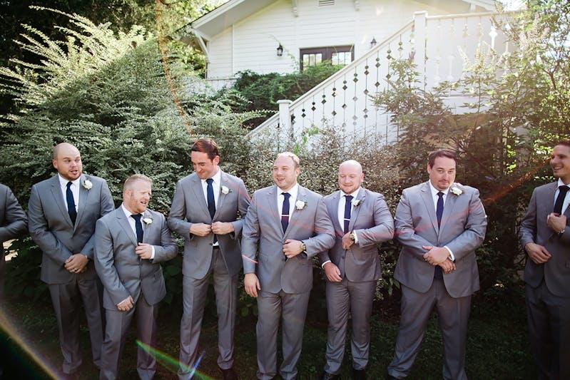 Textured gray groomsmen suits