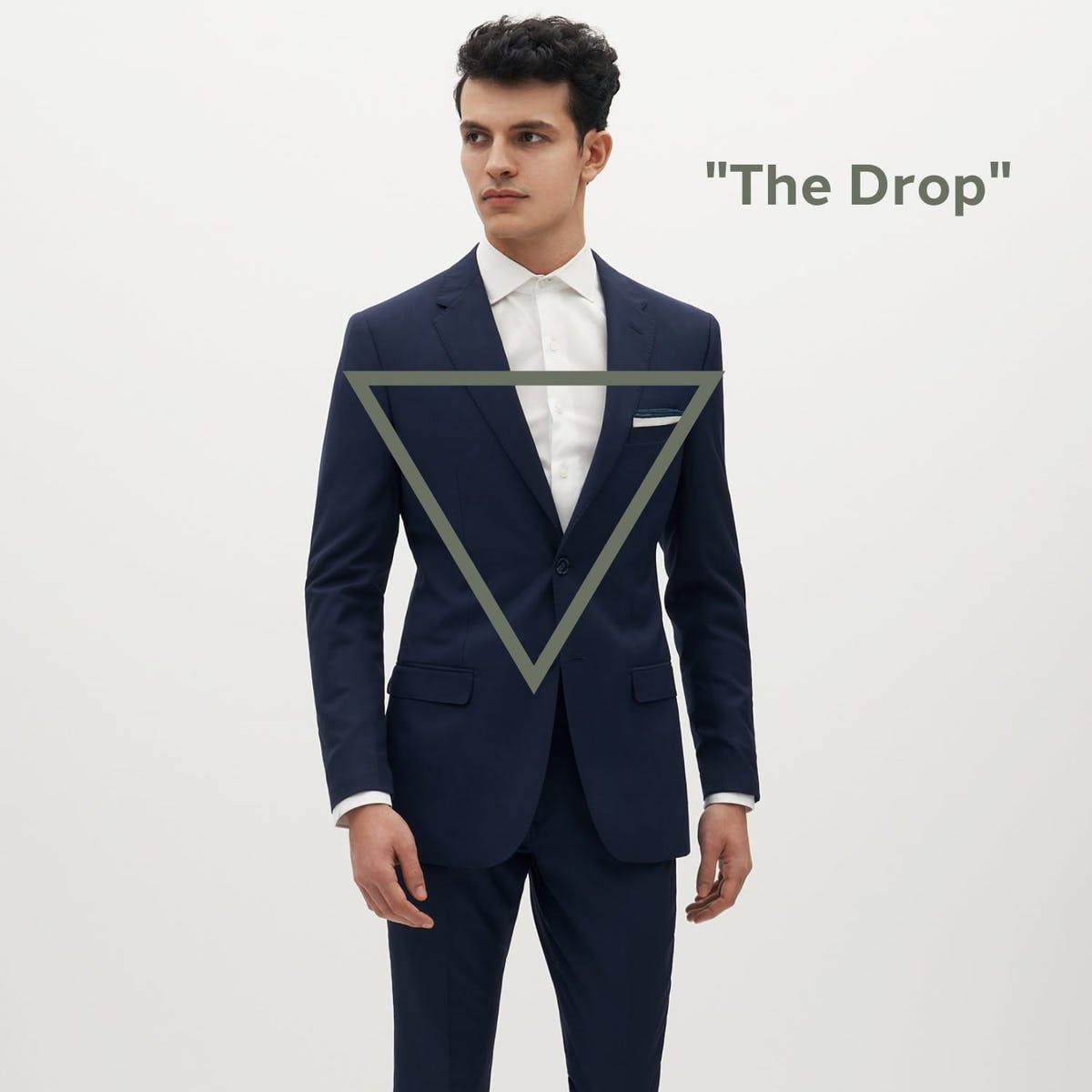 """Tailored Suit Jacket, Men's Custom Fitted Suit in Navy, Fitted Navy Suit, What is """"The Drop"""" in suiting?"""