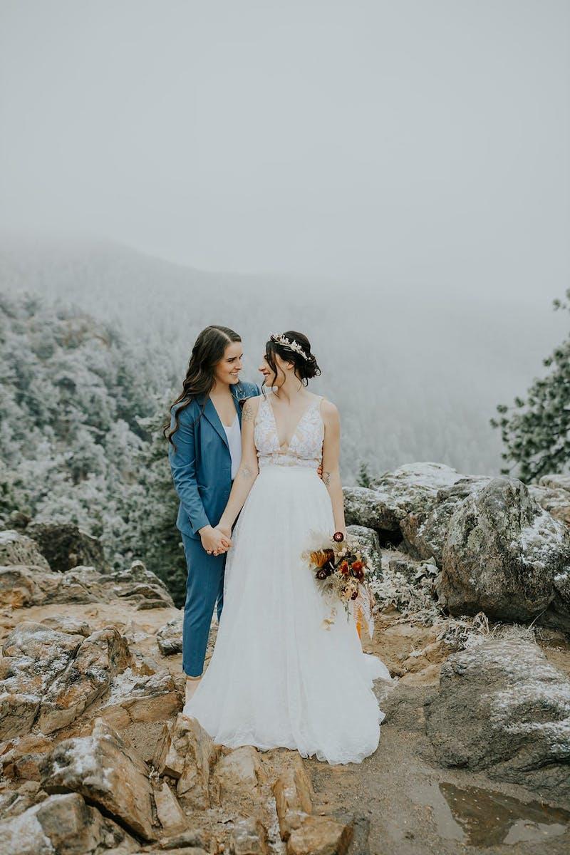 light blue suit real wedding colorado elopement
