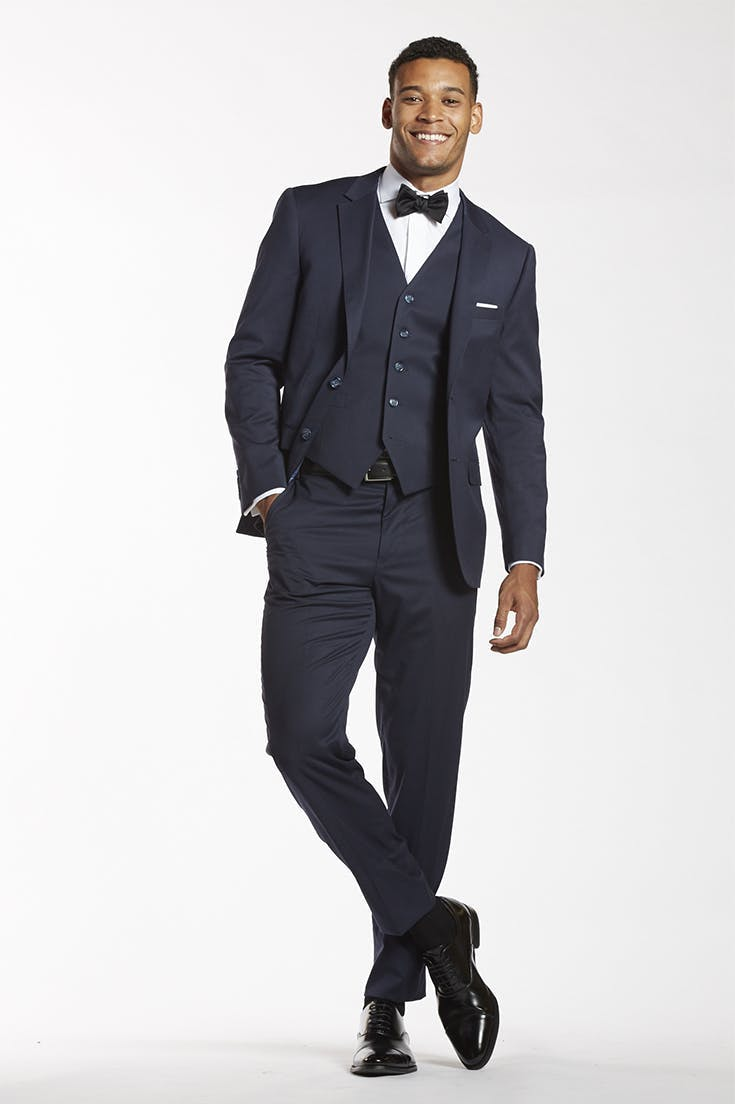 Navy Wedding Suit with Black Shoes
