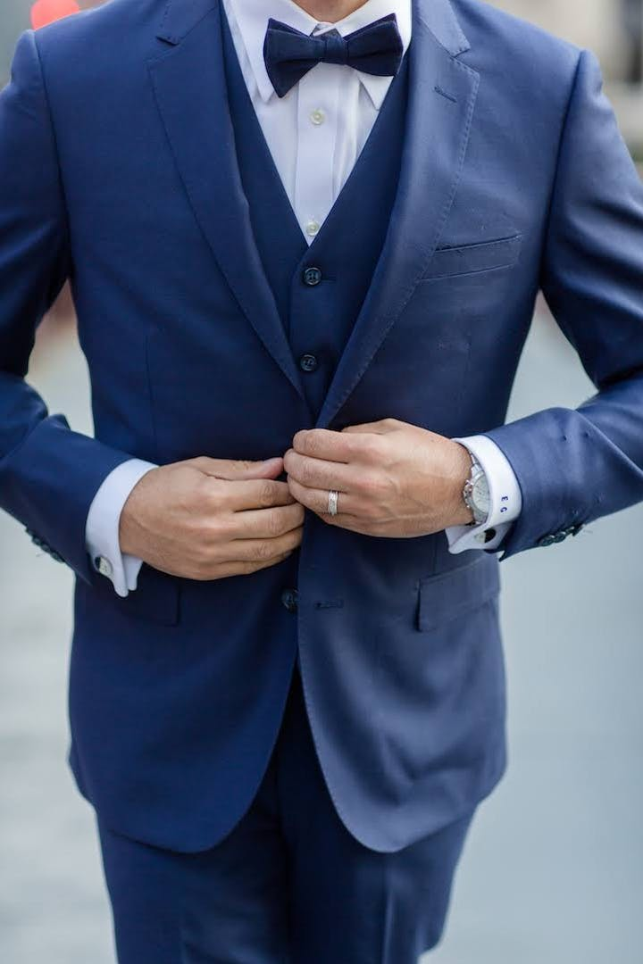 Rules and how to's for buttoning your wedding suit or tuxedo and vest for men.