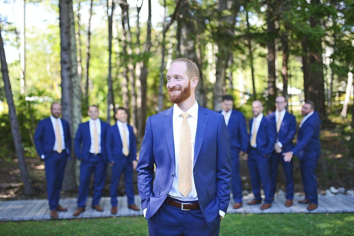 Blue suits for groomsmen short bridesmaids dresses