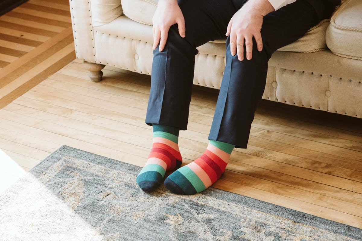navy suit striped socks