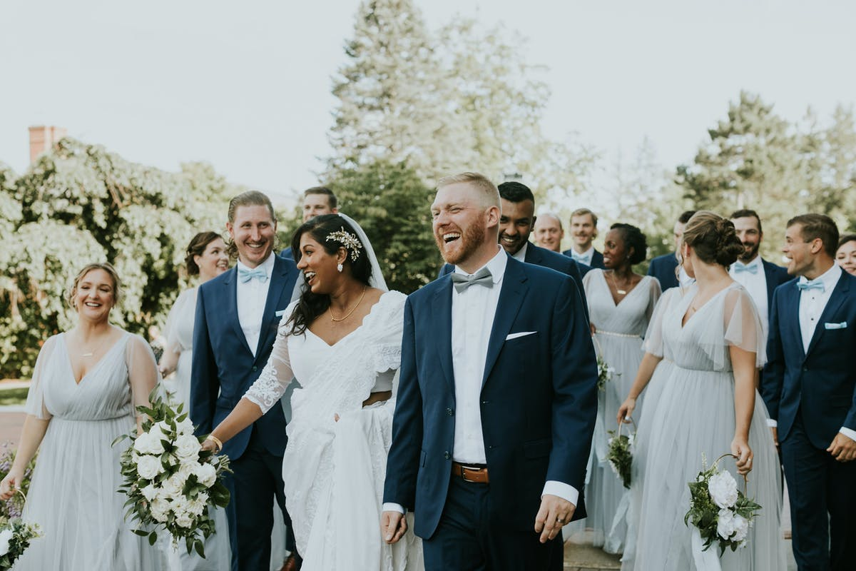 navy and silver wedding party attire ideas
