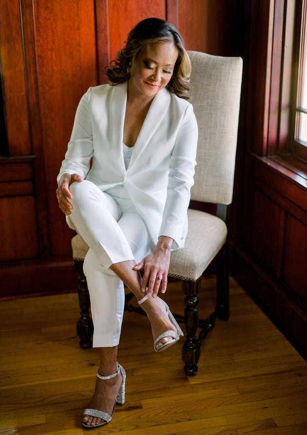 Shoes to wear with women's tuxedo