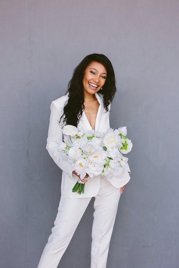 women's white suit