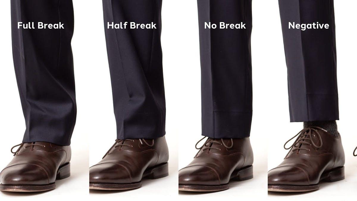 Full Pant Break, Half Pant Break, No Pant Break, Negative Pant Break